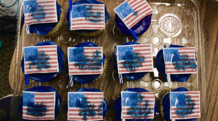Noah Leubbehausen's American flag cupcakes.